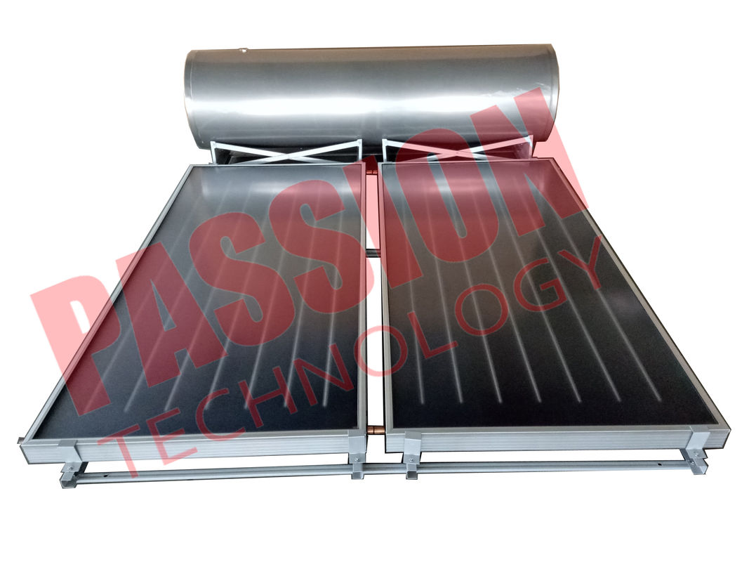 Freestanding Flat Plate Solar Water Heater , Solar Hot Water System With 2 Collectors