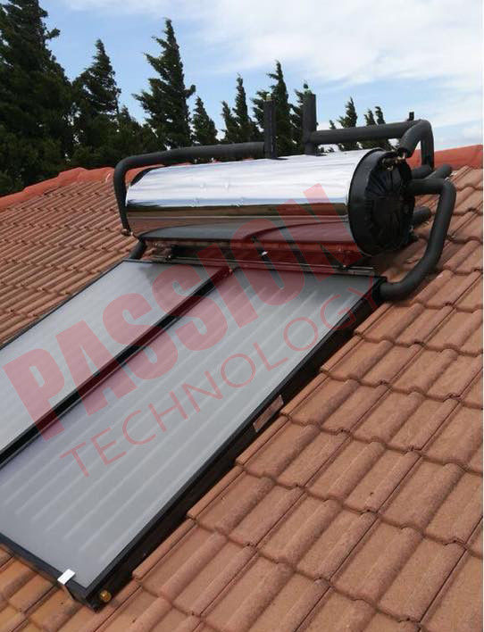 Rooftop Compact Solar Water Heater Blue Titanium Coating Flat Plate Solar Collector